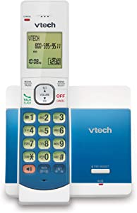 VTech CS5119-18 DECT 6.0 Cordless Phone with Caller ID and Handset Speakerphone, White/Blue with 1 Handset