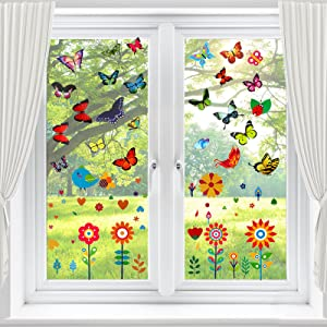 Window Clings for Glass Windows with 22 PCS Butterflies, 12 Pieces Flowers Window Clings Decals, Butterfly Window Stickers for Glass Decor to Alert Birds