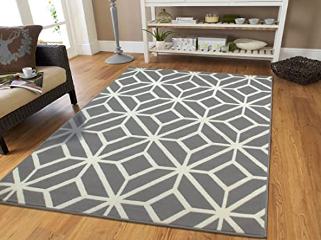 Contemporary Rugs For Living Room Grey And White Moroccan Trellis Area Rug  Carpet, 5 X