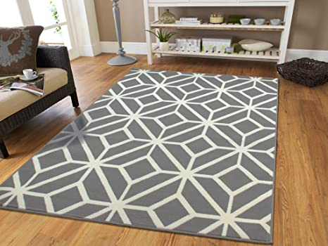 Contemporary Rugs For Living Room Grey and White Moroccan Trellis Area Rug  Carpet, 5 x 7-Feet, Gray