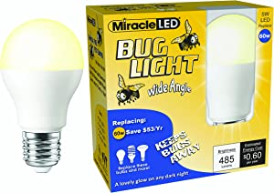 MiracleLED 606823 Wide Angle Bug Light 9W Replacing Old, Hot 60W Incandescent and Painted Bulbs, 2 Piece