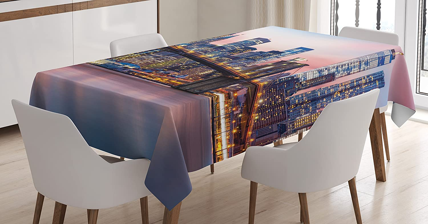Ambesonne New York Tablecloth Decor, Brooklyn Bridge and Lower Manhattan Skyline Under Pink Sunrise Long Exposure Art Image, Rectangular Table Cover for Dining Room Kitchen, 60W X 84L Inches, Blue