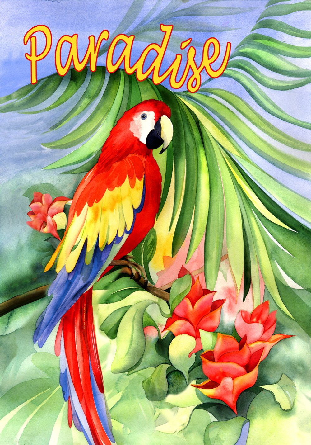 Toland Home Garden Macaw Paradise 12.5 x 18 Inch Decorative Colorful Tropical Flower Exotic Jungle Bird Garden Flag