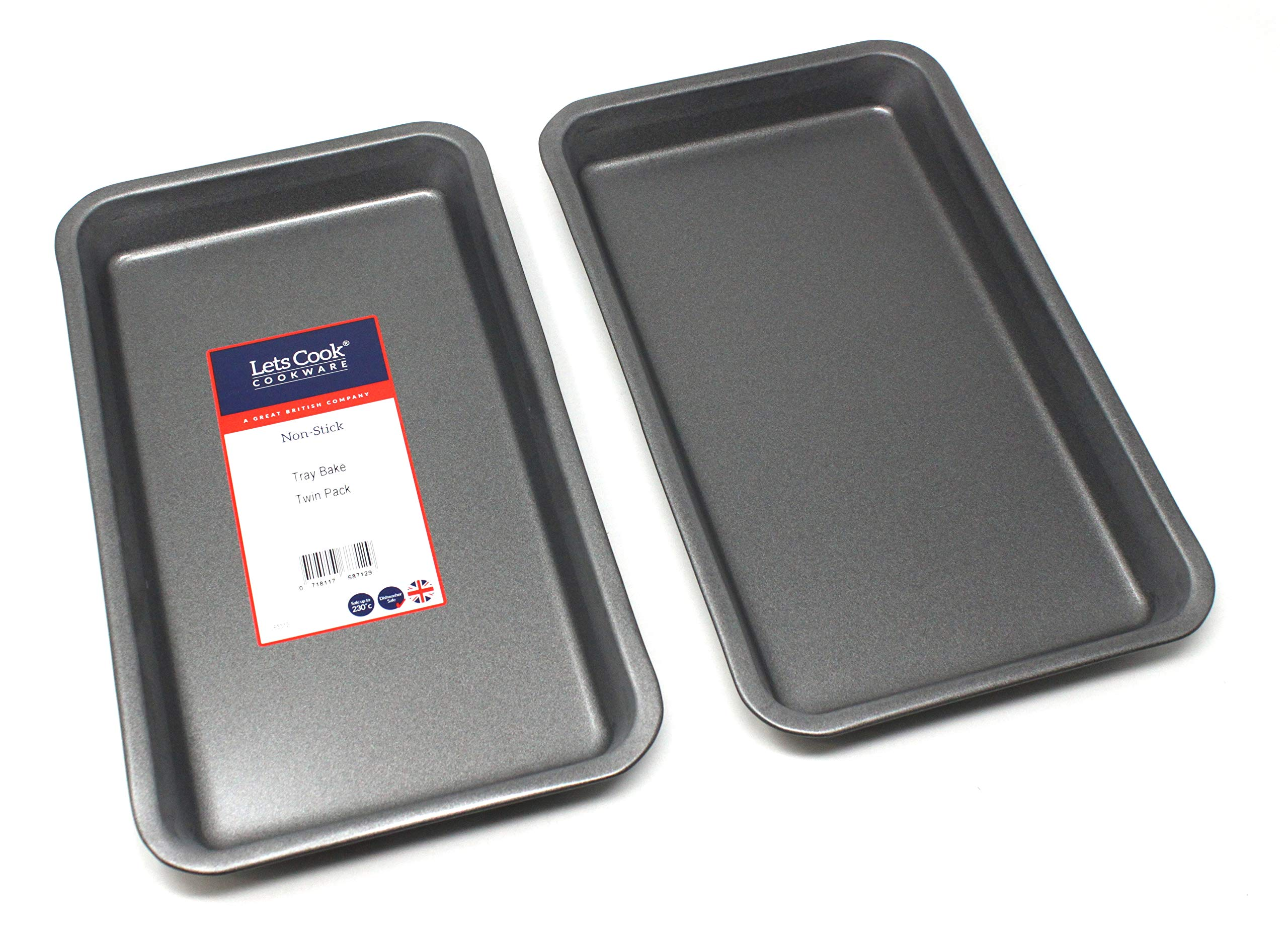 Baking Tray Twin Pack British Made with Teflon Non Stick by Lets Cook Cookware