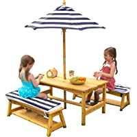 KidKraft Outdoor Table & Bench Set with Cushions & Umbrella - Navy & White Stripes, Natural