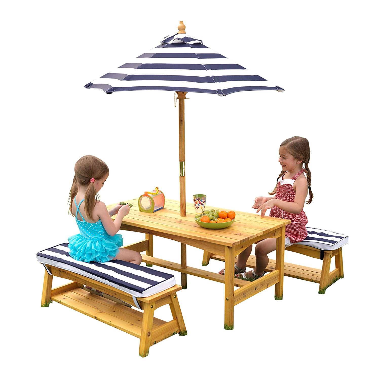 Amazon com kidkraft outdoor table and chair set with cushions and navy stripes toys games