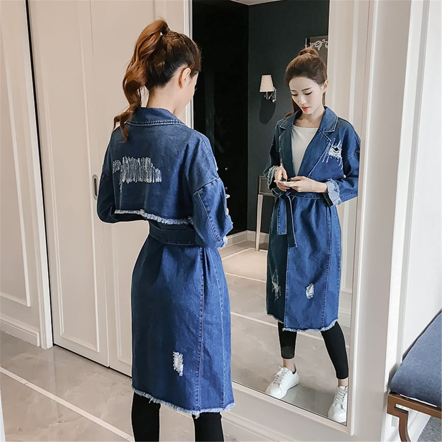 LOKOUO Autumn Trench Coat Women Slim Long Sleeve Turn-down Collar Medium Long Denim Caot Feminino Jeans Windbreaker