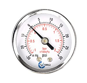 "CARBO Instruments 2"" Pressure Gauge, Chrome Plated Steel Case, Dry, Compound Vacuum -30 Hg - 0-30 psi Back Mount 1/4"" NPT"