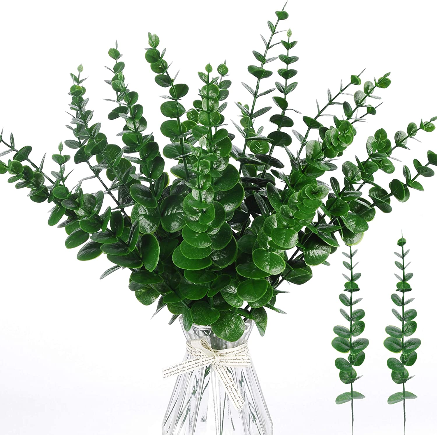 Miracliy 24 PCS Artificial Eucalyptus Stems Leaves Bulk, Faux Eucalyptus Greenery Stems for Vase Wedding Home Garland Decor