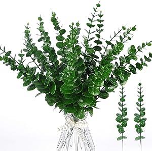 Miracliy 24 PCS Artificial Eucalyptus Stems Leaves Bulk, Faux Eucalyptus Greenery Stems for Vase Wedding Home Garland Decor