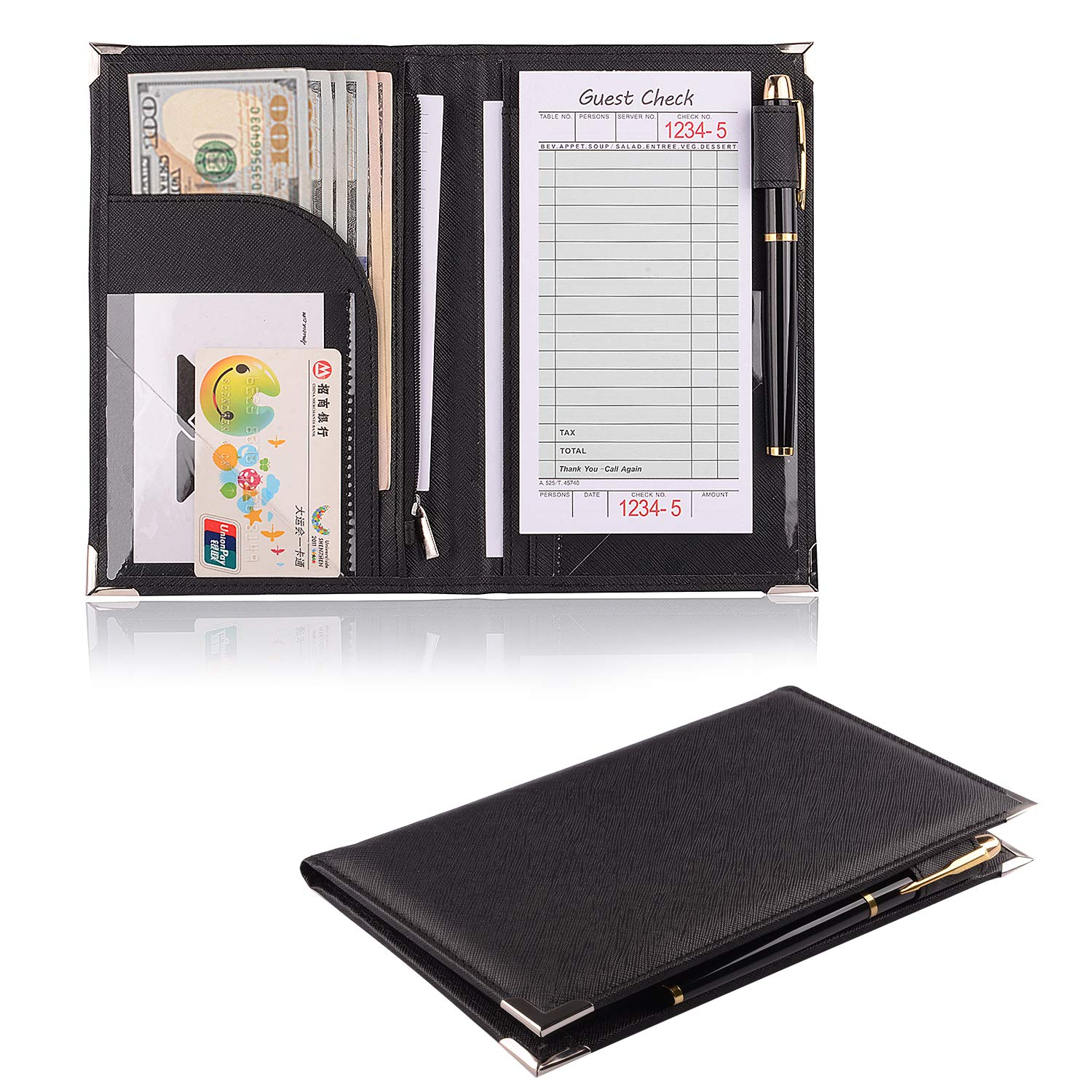 Leather Servers Wallet ,Server Waiter Book Organizer Restaurant (Black/8'' × 5.2'' inch)