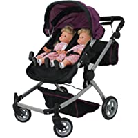 Babyboo Deluxe Twin Doll Pram/Stroller Purple & Black with Free Carriage Bag (Multi Function View All Photos) - 9651A