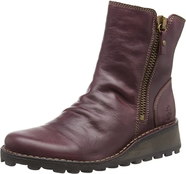 d73bd4bdb8 Fly London Womens Mong Purple Rug Leather Ankle Boots Size 4: Amazon ...