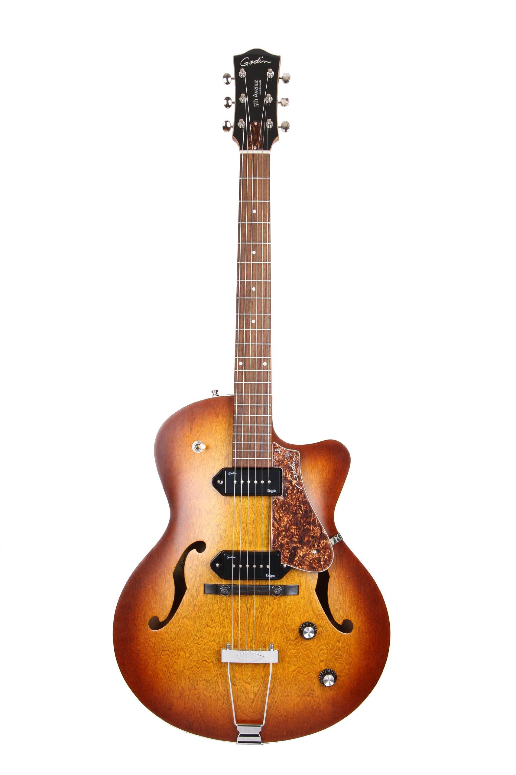 Godin 5th Avenue CW Electric Guitar (Kingpin II, Cognac Burst)