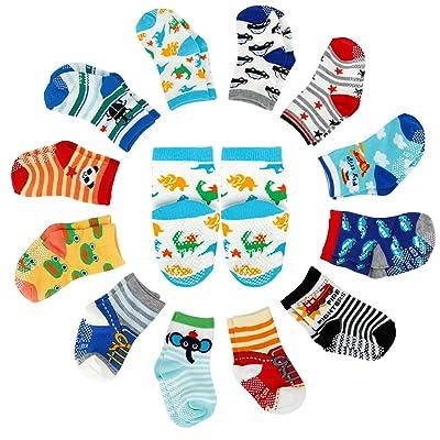 12 Paire de Chaussettes Antidérapant pour Bébé 6-36 Mois