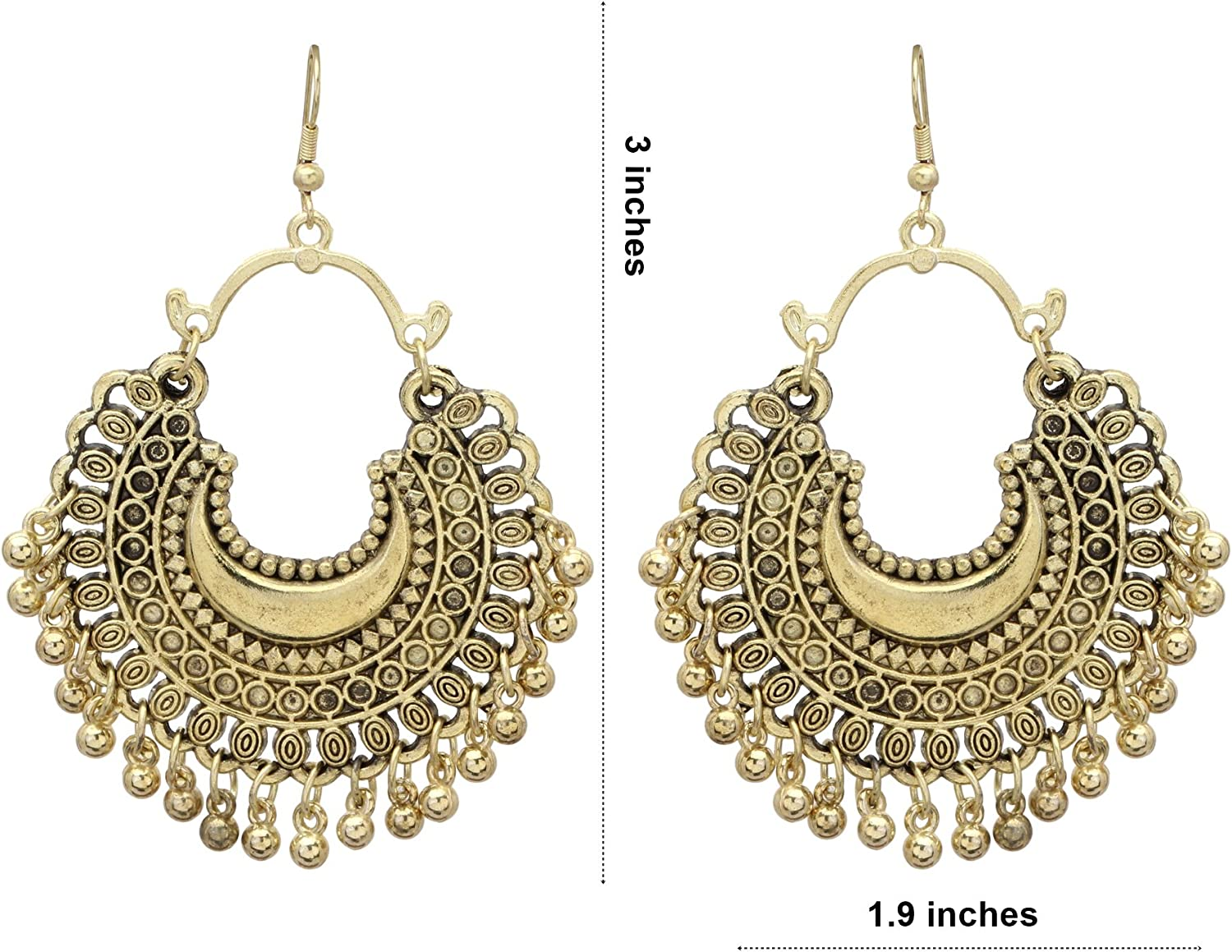 Jwellmart Afghani Bohemian Tribal Oxidized Silver Drop Dangle Indian Earrings for Women and Girls