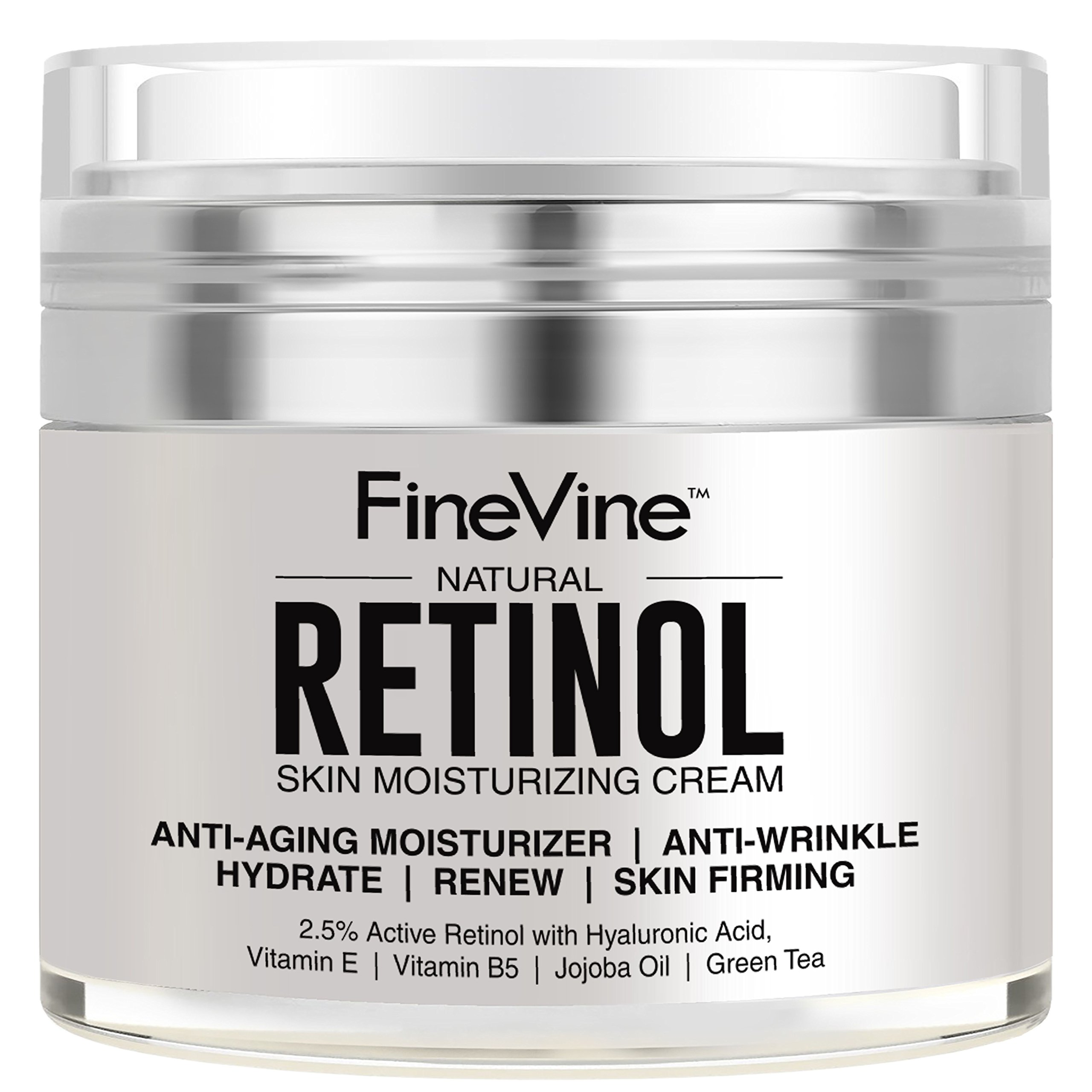 Retinol Moisturizer Cream for Face and Eye Area - Made in USA - with Hyaluronic Acid, Vitamin E - Best Day and Night Anti Aging Formula to Reduce Wrinkles, Fine Lines & Even Skin Tone. by FineVine