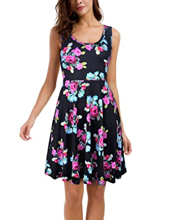a571e82d3a3b Le Confort Women's A Line Sleeveless Floral Flare Summer Holiday Dresses  for Women Black Roses Medium