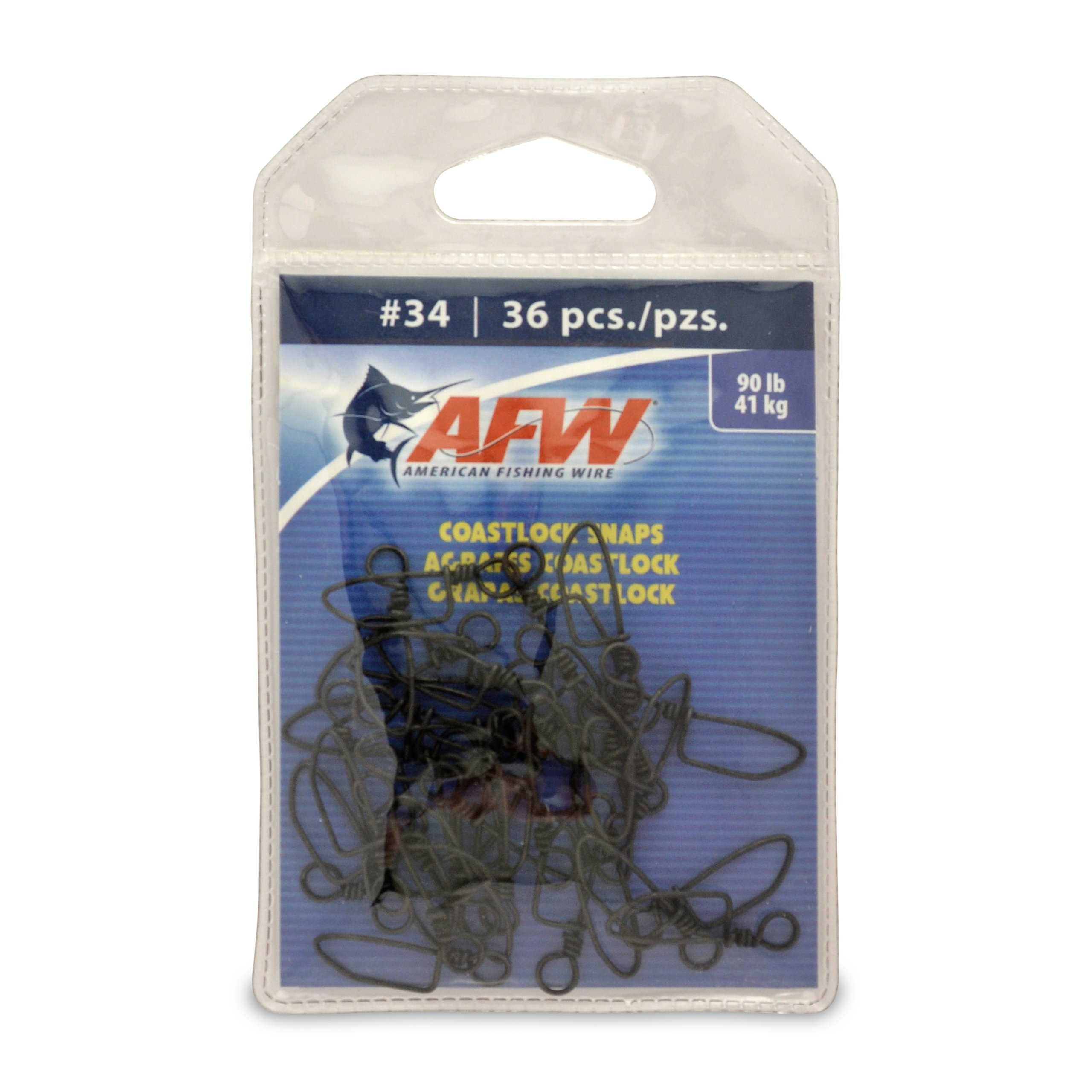 American Fishing Wire Brass Coastlock Snaps, Black Color, Size 34, 90 Pound Test, 36-Pieces