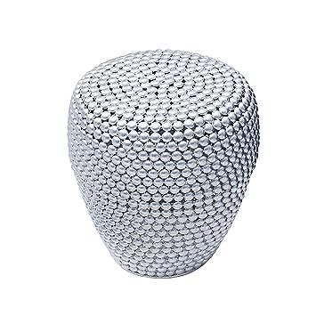 Stilvoller Beistelltisch PEARLS 50 Cm Silber Ethno Hocker Couchtisch Wohnzimmertisch Metalltisch Handarbeit Handgefertigt Vintage Shabby Metallkorb