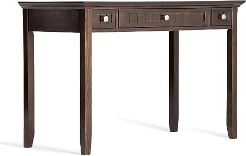 Simpli Home AXWELL3-011 Acadian Solid Wood Rustic 48 inch Wide Desk in Tobacco Brown