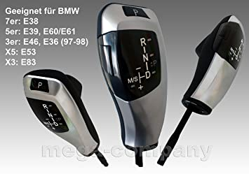 Pomo de palanca de cambios de transmisión automática apto para E38 E39 E60 E61 E87 E83 E53 E46 E36, X3, X5: Amazon.es: Coche y moto