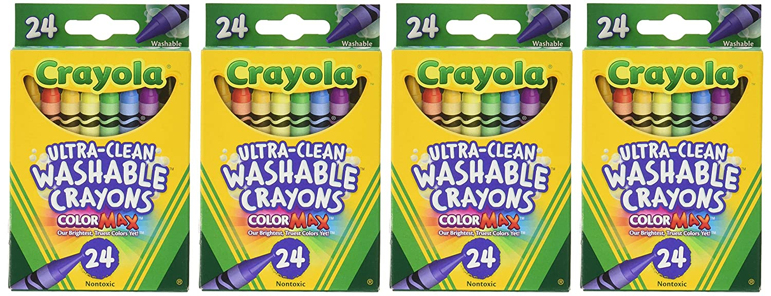 B011JBKONG Crayola Washable Crayons, 24 Count (Pack of 4) Total 96 Crayons 812B5CFoC3mL