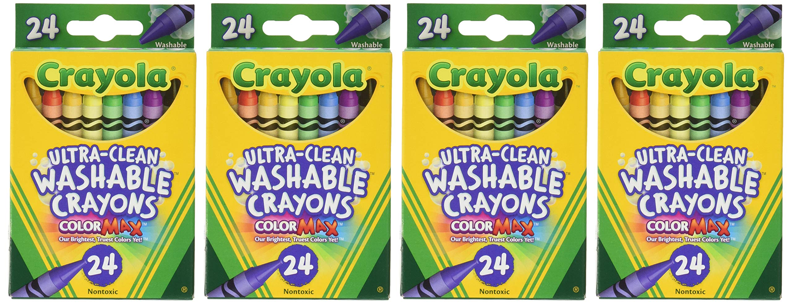 Crayola Washable Crayons, 24 Count (Pack of 4) Total 96 Crayons by Crayola