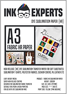 Ink Experts - Subli-Fabric - Papel de sublimación de alta liberación (A4, 100 g/m²) 100 Sheets: Amazon.es: Oficina y papelería