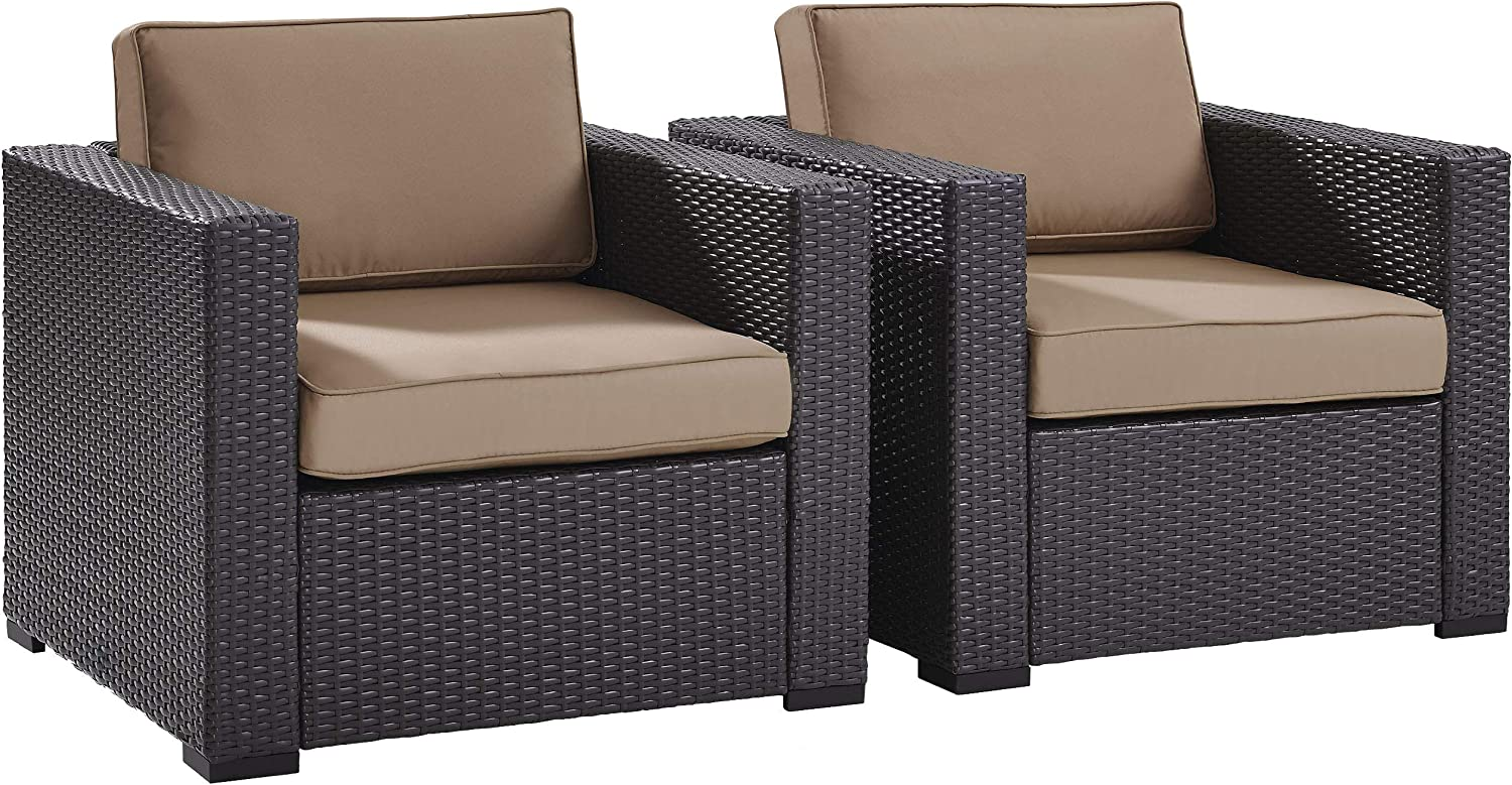 Crosley Furniture Biscayne 2-Piece Outdoor Wicker Conversation Set, Brown with Mocha Cushions