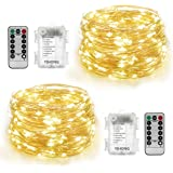 YIHONG 2 Set String Lights Battery Operated Silver Wire Fairy Lights Twinkle Lights 100 LED 33 FT 8 Modes Remote Timer for Wedding Party Home Garden Bedroom Outdoor Indoor Wall Decorations-Warm White