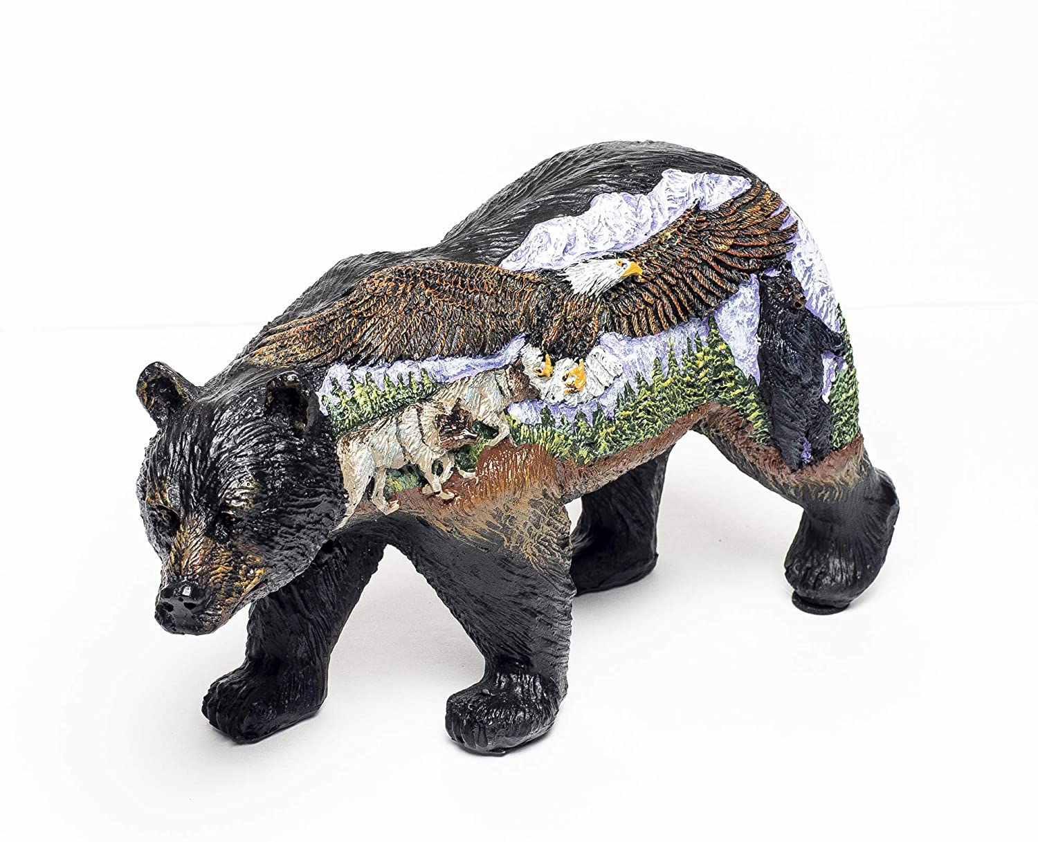 3 D Scenic Bear with Eagle Wolf and Black Bear Figurine Bear Country Statue Bcweb Moreys Gifts