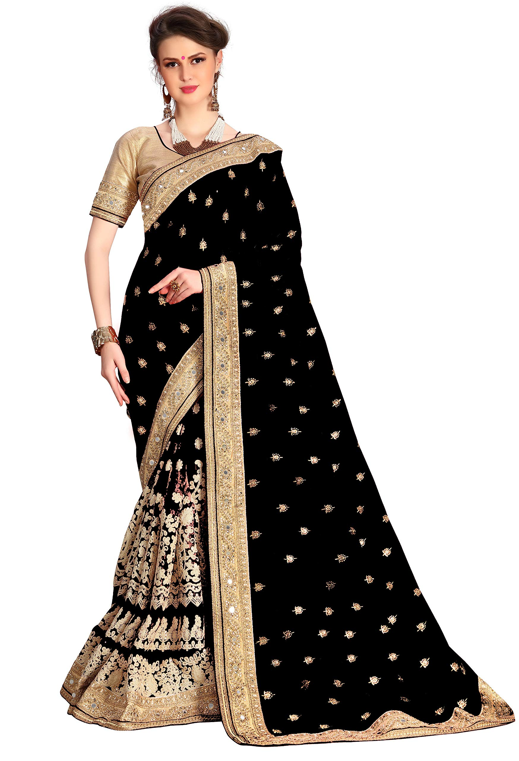Nivah Fashion Women's Dhupion Silk & Net Half N Half Real Diamond With Embroidery Dori Work Saree K579(Black)