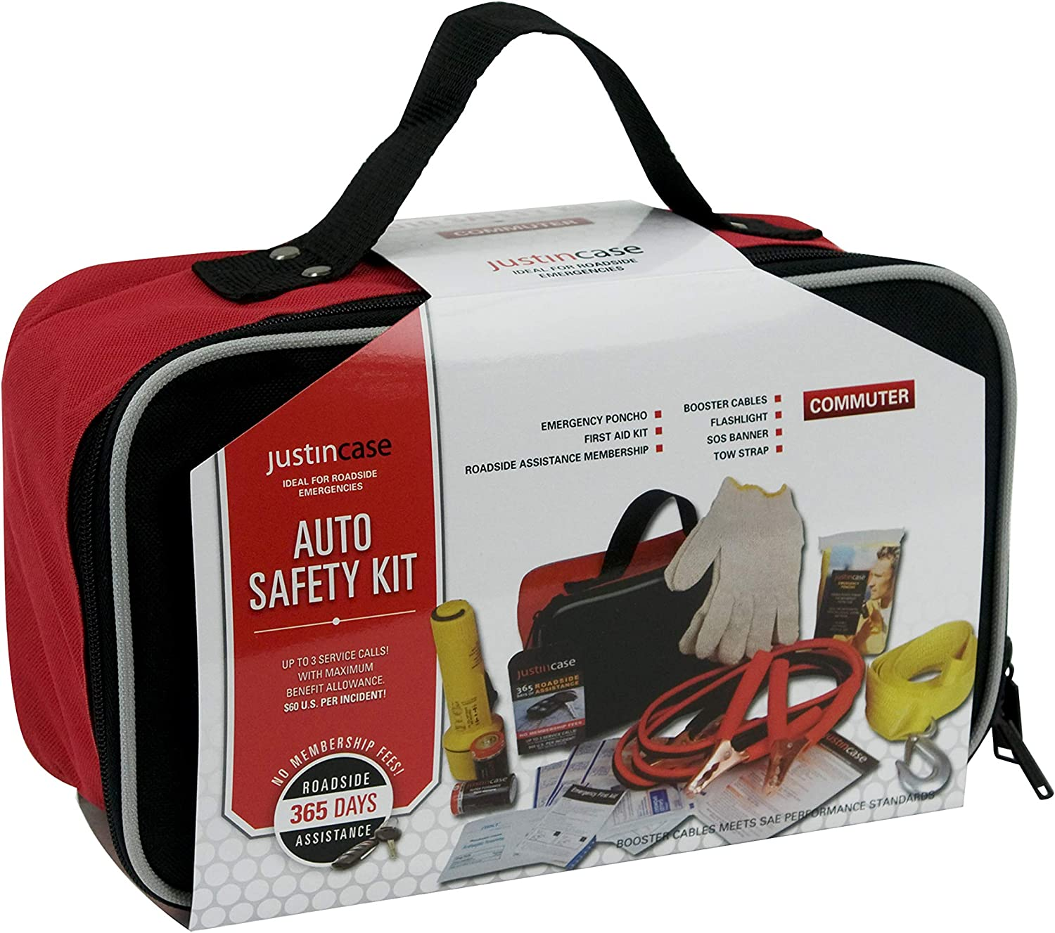 Car Emergency Kit with Booster Cables Tow Strap Rain Poncho Gloves Justin Case Commuter Auto Safety Kit with 365 days of Roadside Assistance First Aid Kit Flashlight