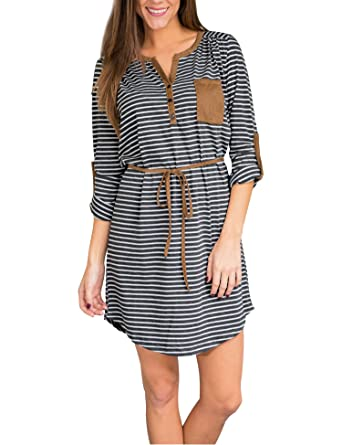 9d313f4d49b Roaays M Women's Tunic Striped Loose Cotton T-Shirt Dress,Gray-white,
