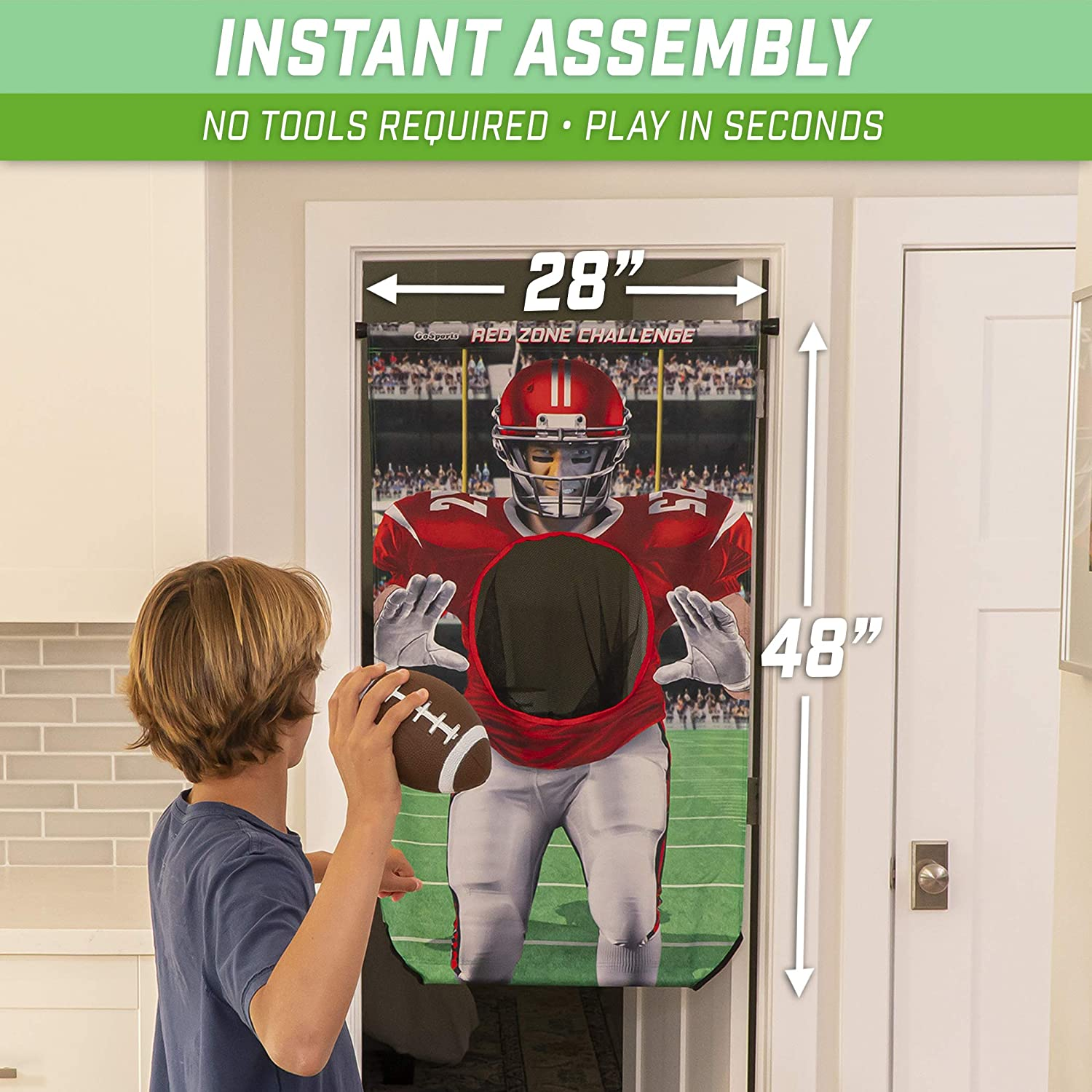 Tension Rod Choose Football Red Zone Challenge or Baseball Strikeout Challenge Set Includes Target GoSports Football /& Baseball Doorway Toss Games Balls and Pump