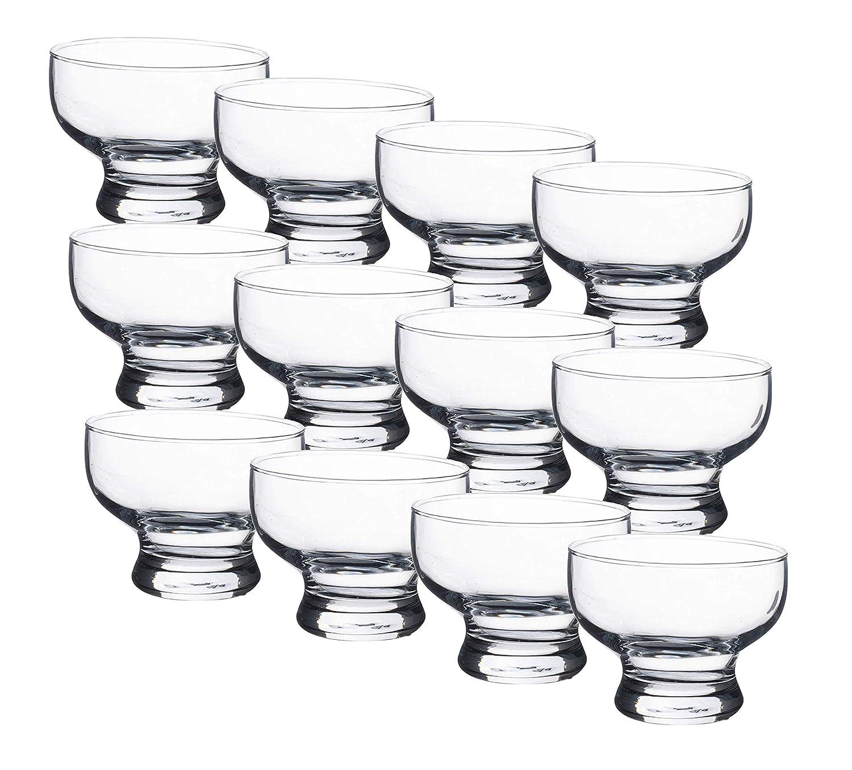 GK Global Kitchen Glass Dessert Bowls Sundae Ice Cream Set Of 12 Piece Tulip Short Stemmed Prawn Cocktail Glasses Appetiser Fruit Salads Pudding Dishes Footed Dessert Sundae Cocktail Bowls