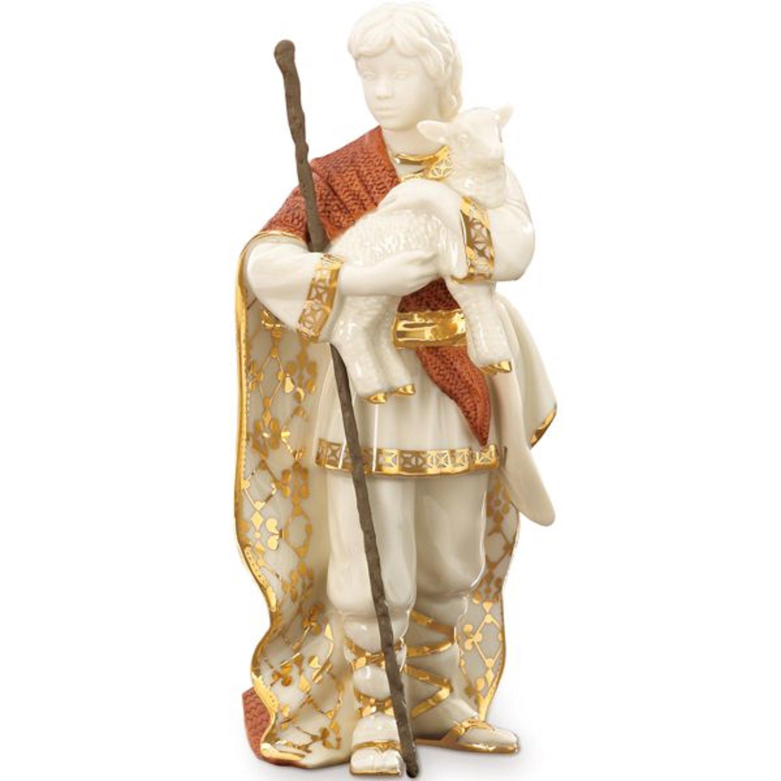 Lenox First Blessing Nativity Shepherd Boy Figurine Lamb Staff Porcelain