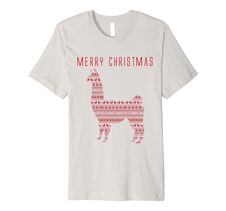 Merry Christmas Llama in Cute Red Sweater Pattern T-shirt-FL