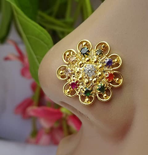 Amazon Com Indian Nose Stud Traditional Nose Stud 16g Nose Stud