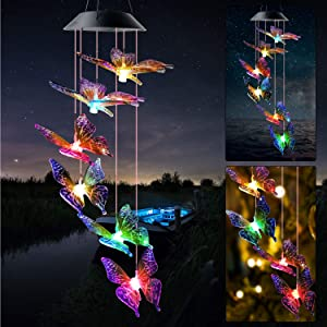 JOBOSI Color Butterfly Wind Chimes Gifts for mom Solar Wind Chime Butterfly Wind Chimes Glowing Wind Chimes Outdoor Decor mom Gifts Thanksgiving Gift Grandma GiftsS Hook Wind Chimes Wind Chimes Gifts