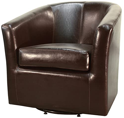 New Pacific Direct Hayden Swivel Bonded Leather Tub Chair,Brown