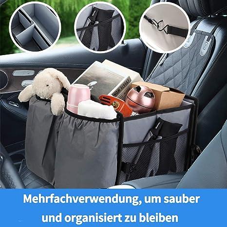 X Cosrack Auto Kofferraumtasche Mit Kühltasche Kühlbox Organizer Auto Kofferraum Falttasche Einkaufstasche Autotasche Autobox Autokofferraumtasche Klettbefestigung Kofferraum Organizer Grau Auto
