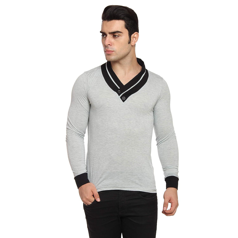 Thari Choice Self Design V Neck Stylish Grey Solid Cotton T Shirt