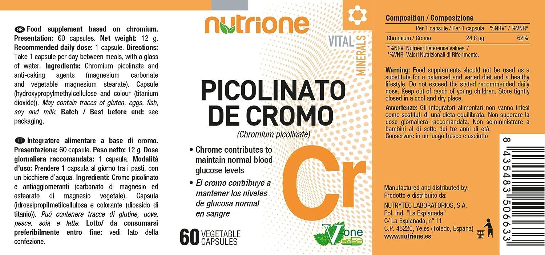 Picolinato de Cromo 200 mcg. 60 cápsulas.Nutrione. 1 und.: Amazon.es: Salud y cuidado personal