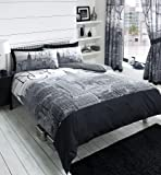 NEW YORK GREY BLACK PRINTED CURTAINS SET WITH TIE BACKS - 66x72 by stylishbedrooms