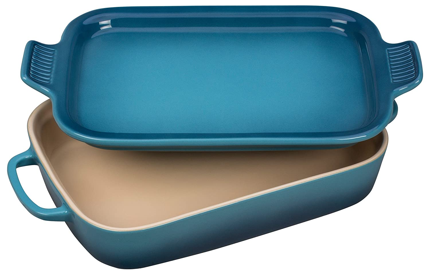 Le Creuset Stoneware Rectangular Dish with Platter Lid, 14 3/4 x 9 x 2 1/2, Caribbean PG2015-1317