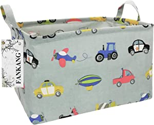 FANKANG Storage Bins, Nursery Hamper Canvas Baby Shower Basket Laundry Basket Foldable with Waterproof PE Coating Large Storage Baskets for Kids, Office, Bedroom, Clothes,Toys (Rec-Car)