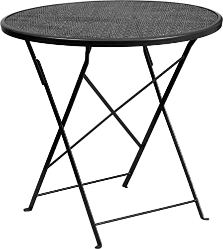 Flash Furniture Commercial Grade 30″ Round Black Indoor-Outdoor Steel Folding Patio Table