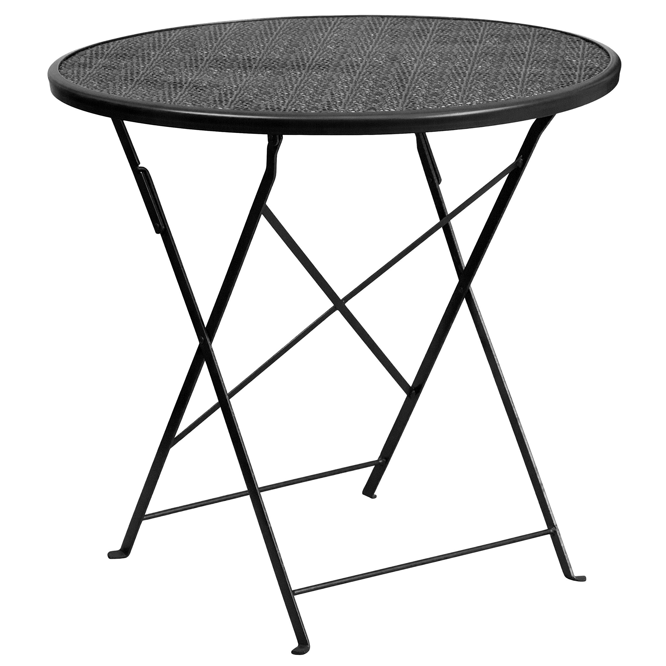 MFO 30'' Round Black Indoor-Outdoor Steel Folding Patio Table